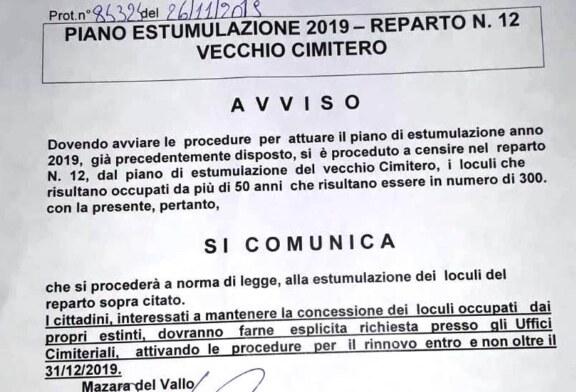 Mazara, piano estumulazione reparto n. 12 del vecchio cimitero Possibilità di rinnovo delle concessioni (entro il 31 dicembre 2019) dei loculi occupati da oltre 50 anni